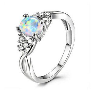 Ring Silver Oval Artificial Opal Size 10